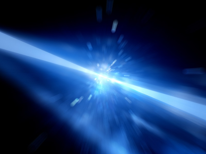 Blue glowing laser beams hitting the target, explosion, computer generated abstract background, 3D rendering