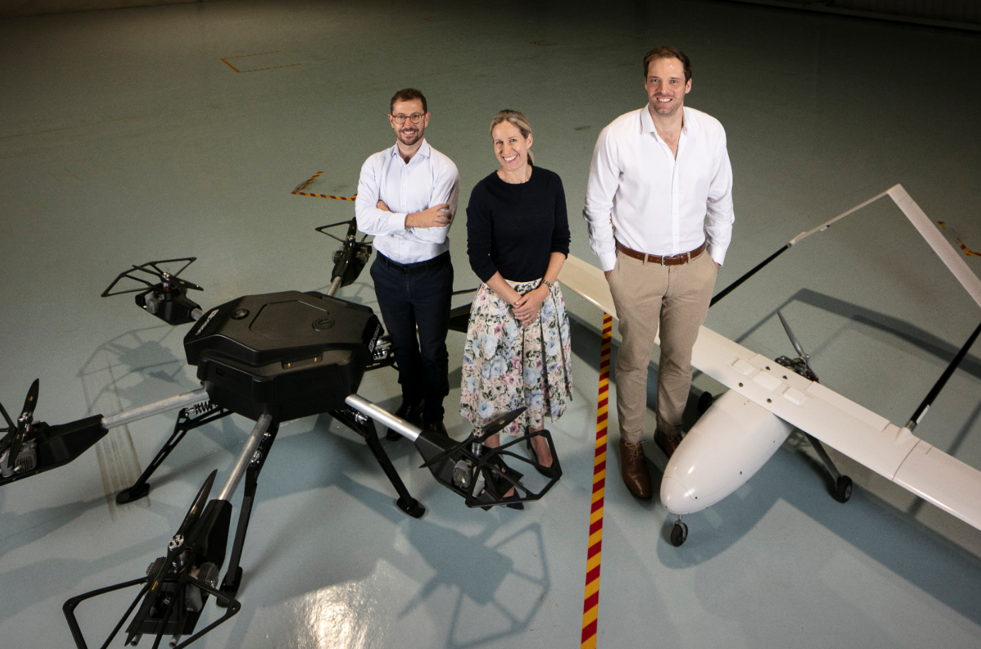 From left David Tozer, Chairman, Jolaine Boyd, COO and Ben Harris, CEO, National Drones