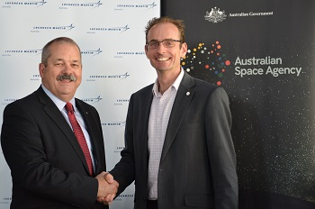 """Rod Drury, Managing Director – Australia and New Zealand, Lockheed Martin Space (left) and Anthony Murfett, Acting Head, Australian Space Agency mark the official signing of the Lockheed Martin Statement of Strategic Intent and Cooperation with the Australian Space Agency."""