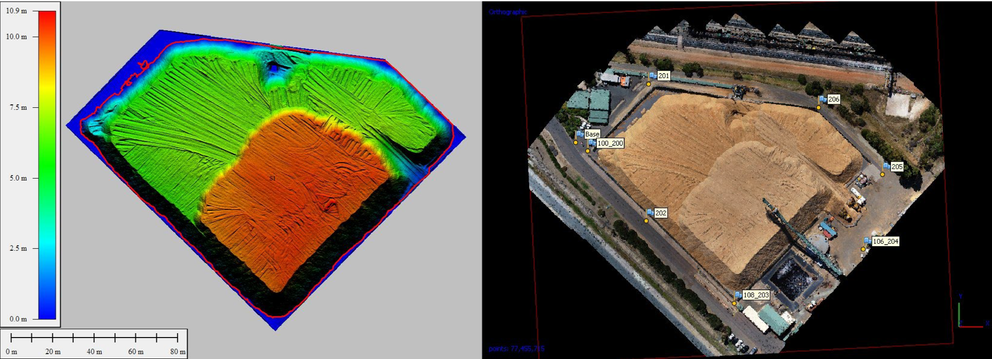 """Digital Elevation Model (left) produced from imagery (right) and photogrammetry processing"""